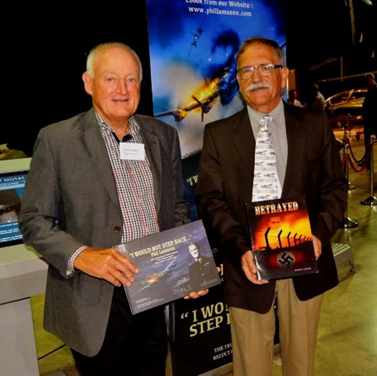 John Lamason and Ric Martini, sons of Buchenwald survivors Phil Lamason and Frederick C. Martin, with their respective fathers' stories at the MOTAT book launch, Auckland, March 2018 (Photo courtesy of Peter Wheeler, NZBCA)