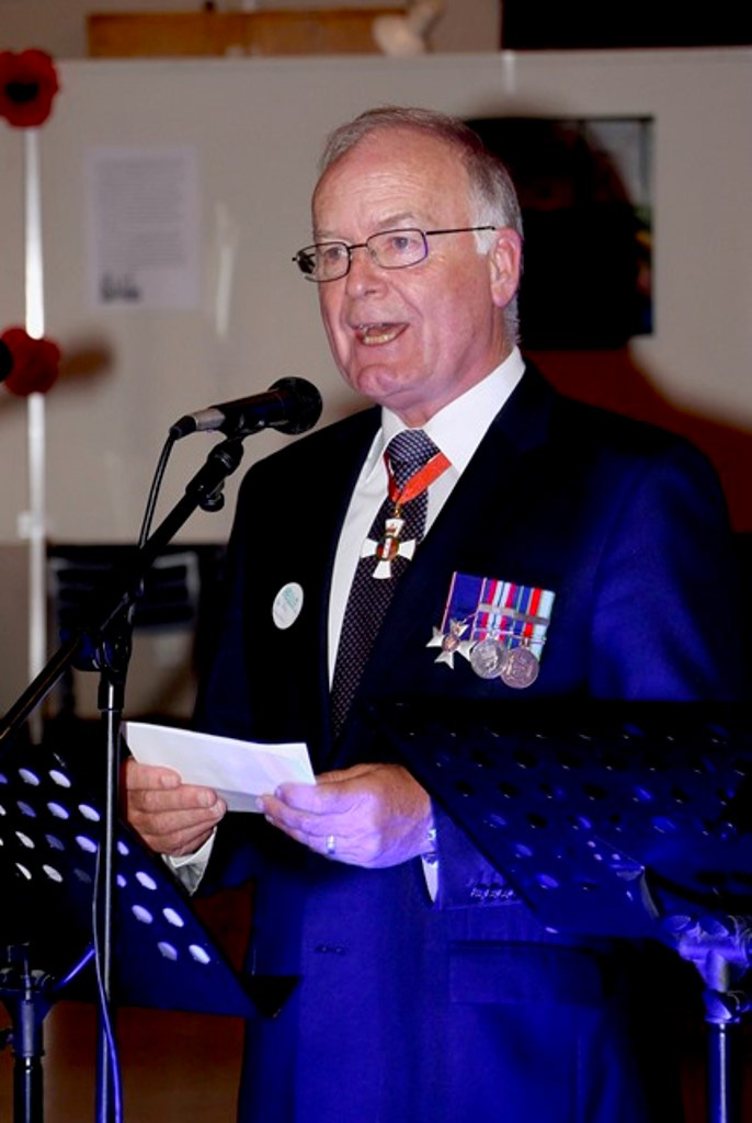 Retired RNZAF Air Vice Marshall John Hamilton addressing guests, Dannevirke book launch, February 2018.