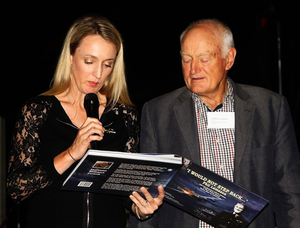 Christie David and John Lamason, granddaughter and son of Phil Lamason, addressing guests at the MOTAT book launch, Auckland, March 2018